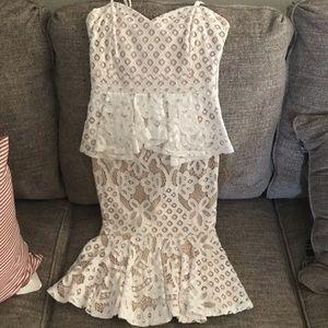White Peplum Midi Dress